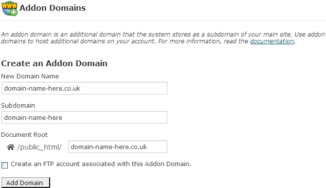 Adding a domain to your web site